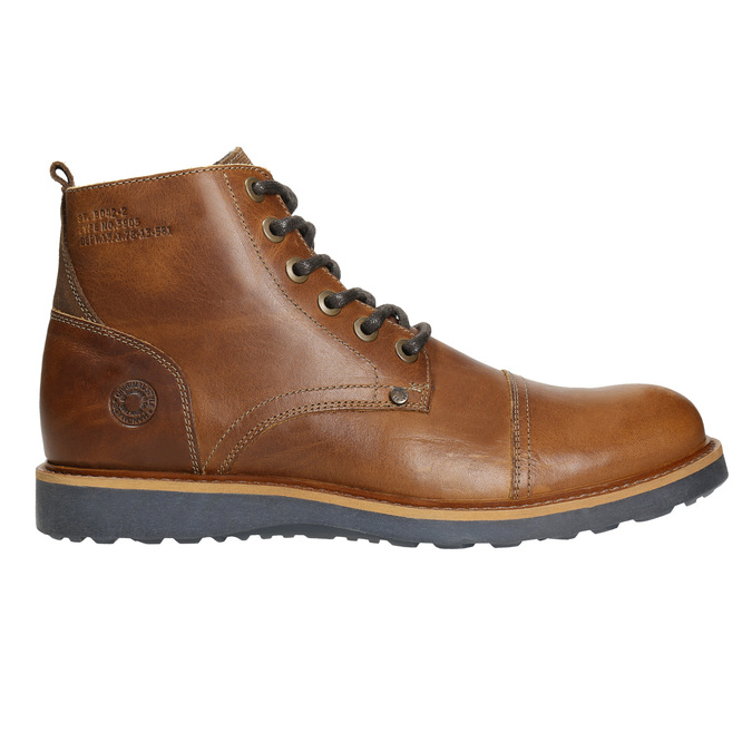 Brązowe zimowe buty ze skóry bata, brązowy, 896-4667 - 15