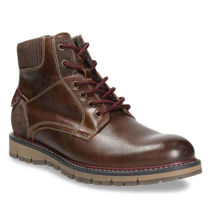 Zimowe obuwie męskie za kostkę bata, brązowy, 896-4657 - 13