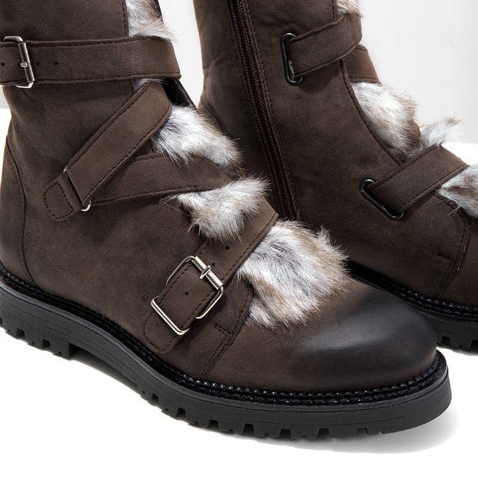 Skórzane kozaki damskie zfuterkiem bata, brązowy, 594-4656 - 14