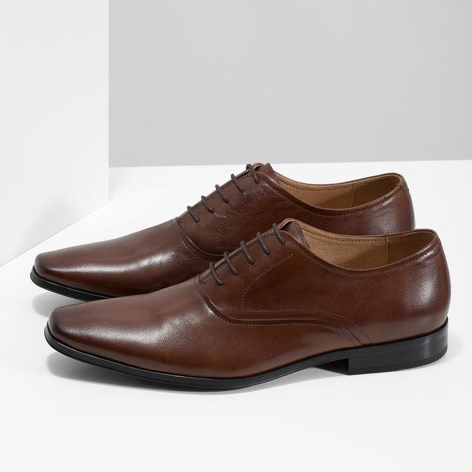 Brązowe skórzane półbuty typu oksfordy bata, brązowy, 826-3808 - 16