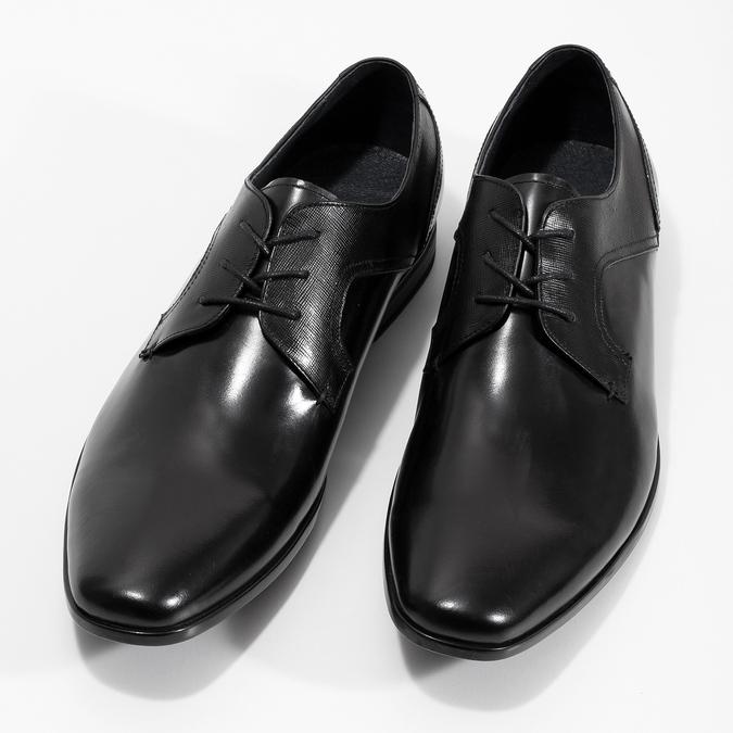 Czarne skórzane półbuty męskie bata, czarny, 824-6758 - 16