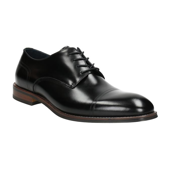 Czarne skórzane półbuty typu angielki bata, czarny, 826-6681 - 13