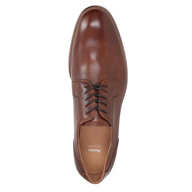 Brązowe skórzane półbuty męskie bata, brązowy, 826-3997 - 15