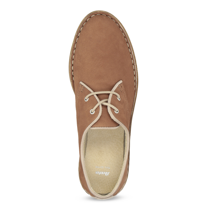 Skórzane półbuty damskie wnieformalnym stylu bata, brązowy, 526-4652 - 17