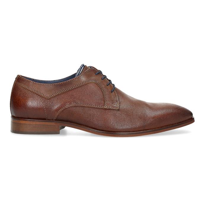Skórzane półbuty męskie zfakturą bata, brązowy, 826-3825 - 19