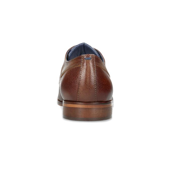 Skórzane półbuty męskie zfakturą bata, brązowy, 826-3825 - 15
