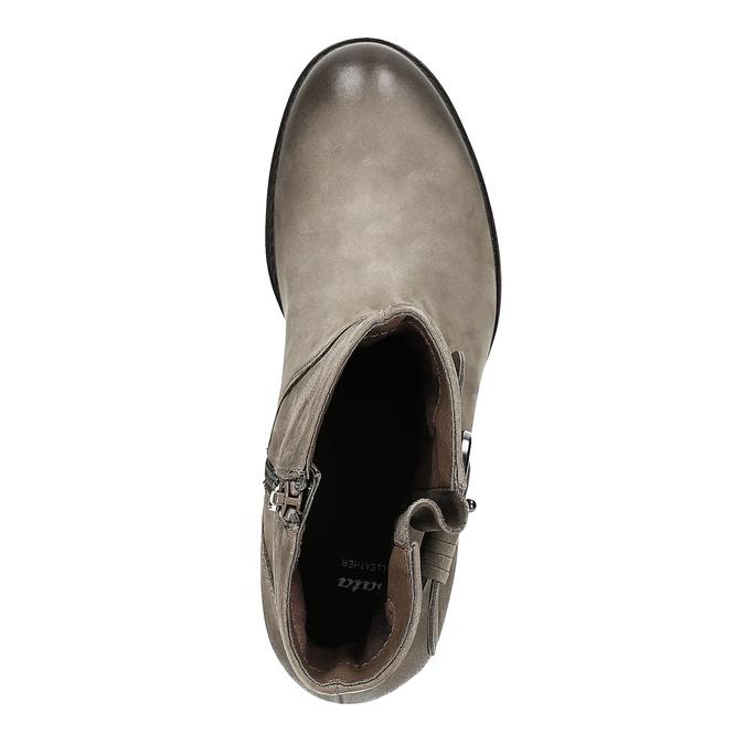 Skórzane botki zklamrami bata, beżowy, 696-2621 - 19