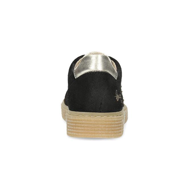 Skórzane trampki dziecięce zćwiekami mini-b, czarny, 324-6605 - 15