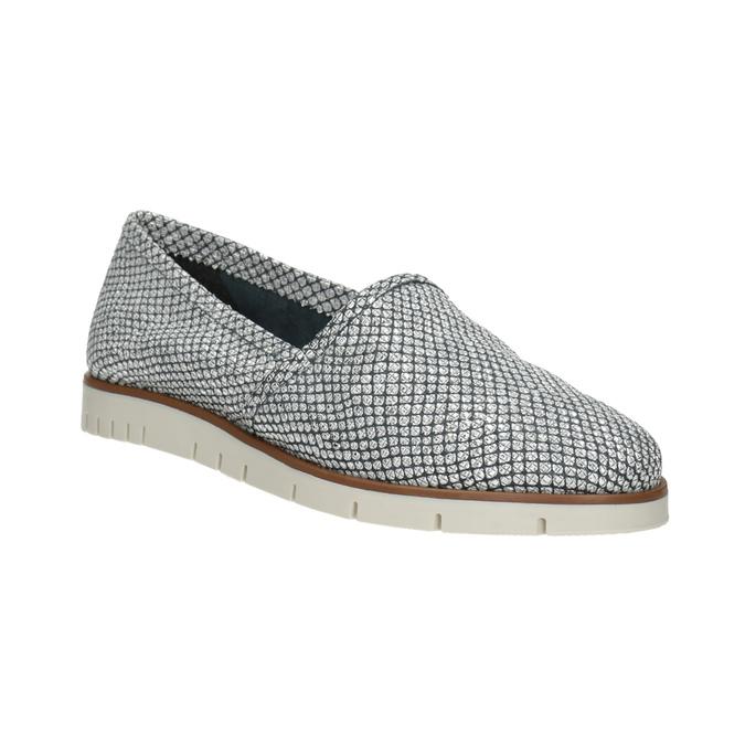 Srebrne skórzane obuwie typu slip-on flexible, 536-1604 - 13