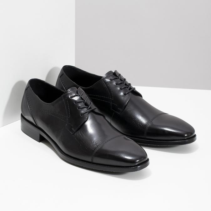 Skórzane półbuty męskie zprzeszyciami bata, czarny, 824-6982 - 26