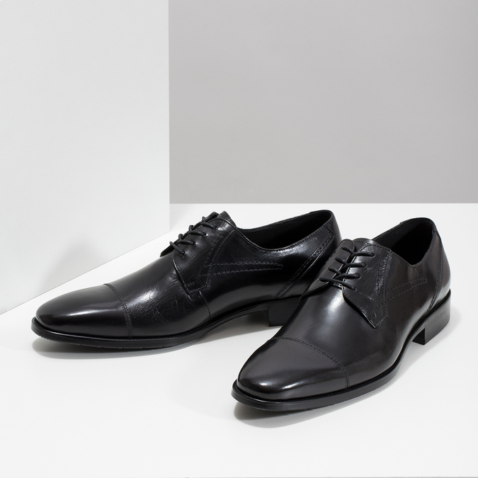 Skórzane półbuty męskie zprzeszyciami bata, czarny, 824-6982 - 16