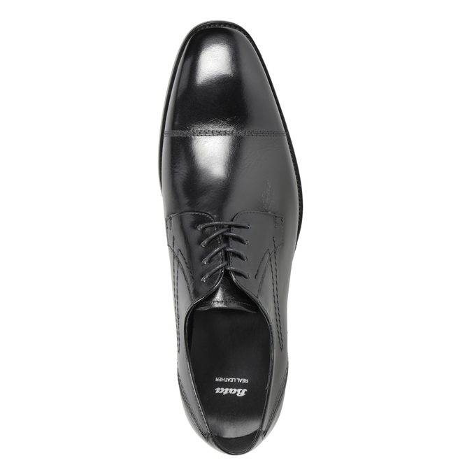 Skórzane półbuty męskie zprzeszyciami bata, czarny, 824-6982 - 15