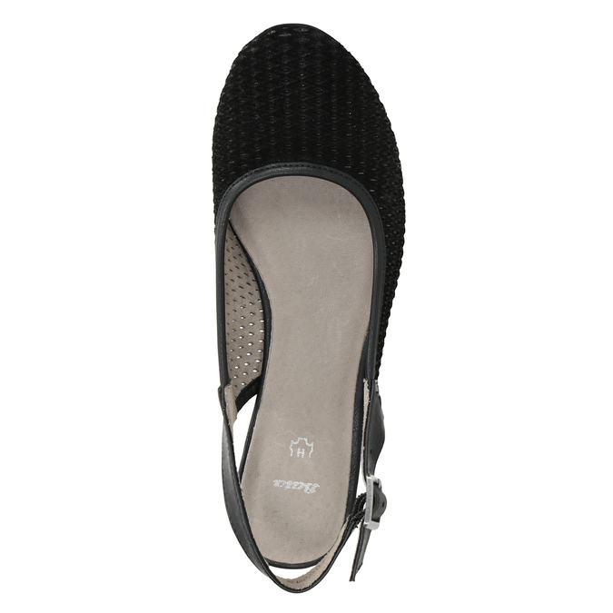 Czółenka oszerokości H, bez pięty bata, czarny, 623-6645 - 15