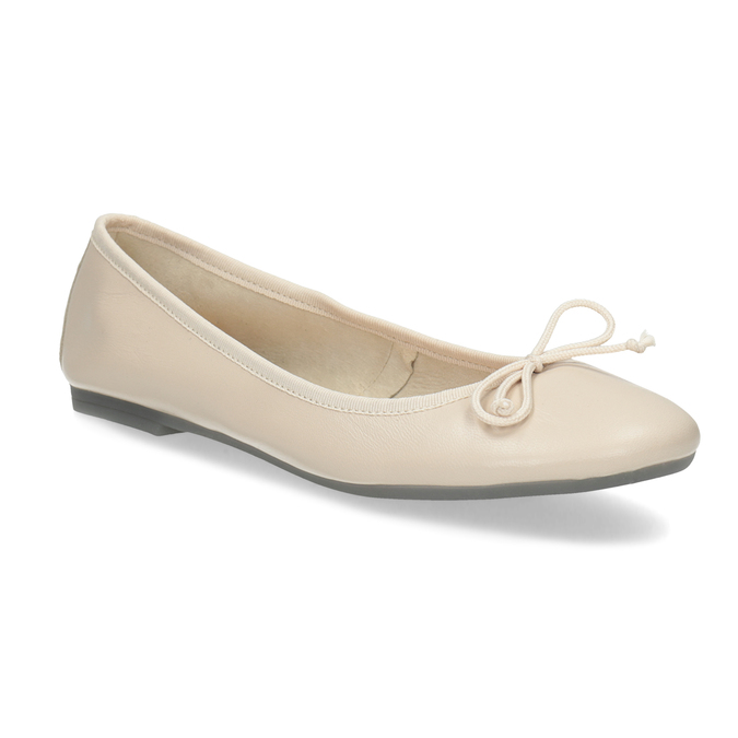 Beżowe skórzane baleriny damskie bata, beżowy, 524-8144 - 13