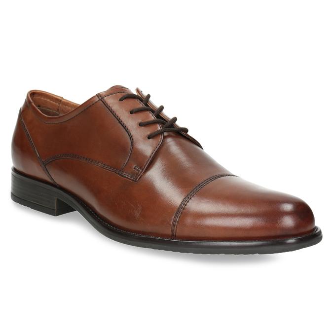 Skórzane półbuty męskie zprzeszyciami bata, brązowy, 826-4995 - 13