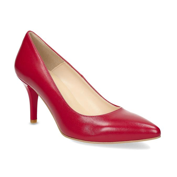 Czerwone skórzane czółenka wszpic insolia, czerwony, 724-5650 - 13
