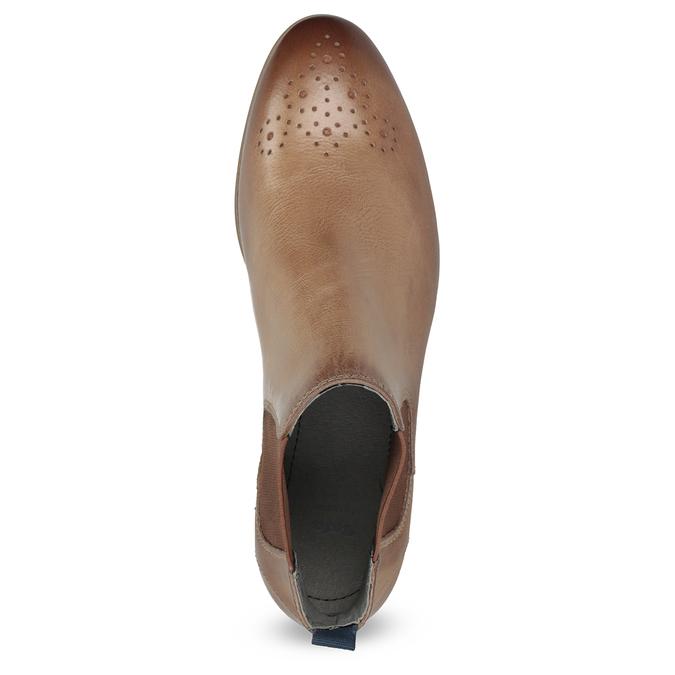 Skórzane botki damskie typu chelsea bata, brązowy, 596-3684 - 17