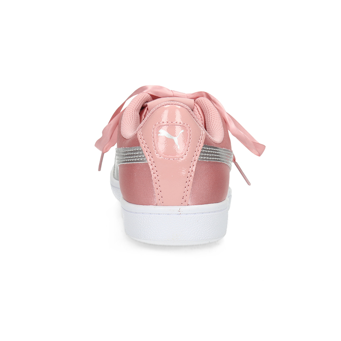 Różowe satynowe trampki ze wstążkami puma, różowy, 509-5718 - 15