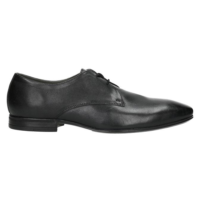 Czarne skórzane półbuty typu angielki zfakturą bata, czarny, 824-6945 - 26