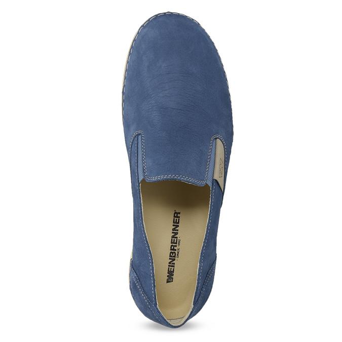 Niebieskie skórzane slip-on damskie weinbrenner, niebieski, 536-9606 - 17