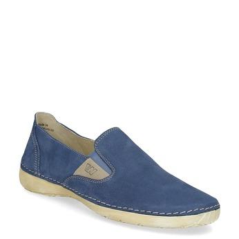 Niebieskie skórzane slip-on damskie weinbrenner, niebieski, 536-9606 - 13