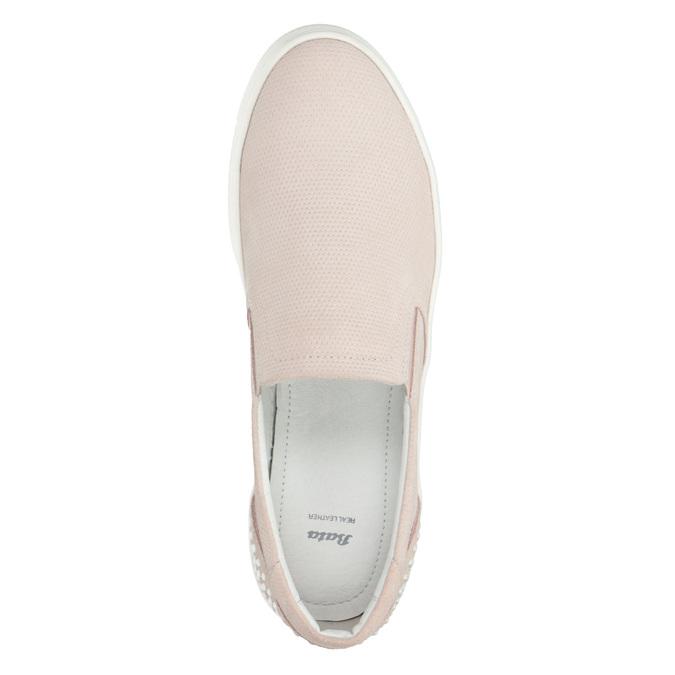 Skórzane slip-on damskie bata, różowy, 533-5600 - 15