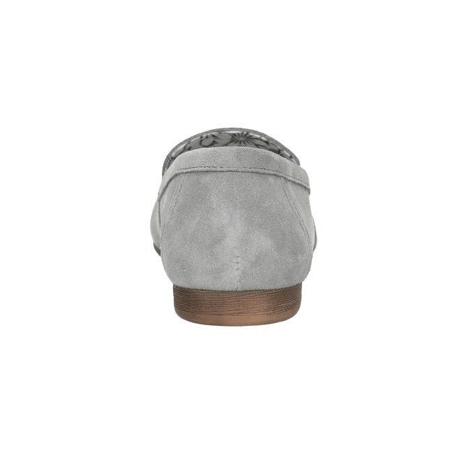 Szare skórzane mokasyny bata, szary, 513-2615 - 16