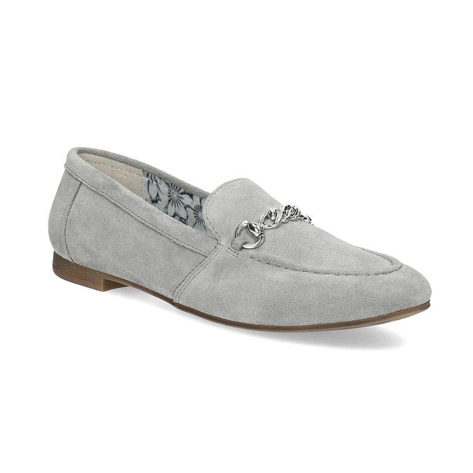Szare skórzane mokasyny bata, szary, 513-2615 - 13