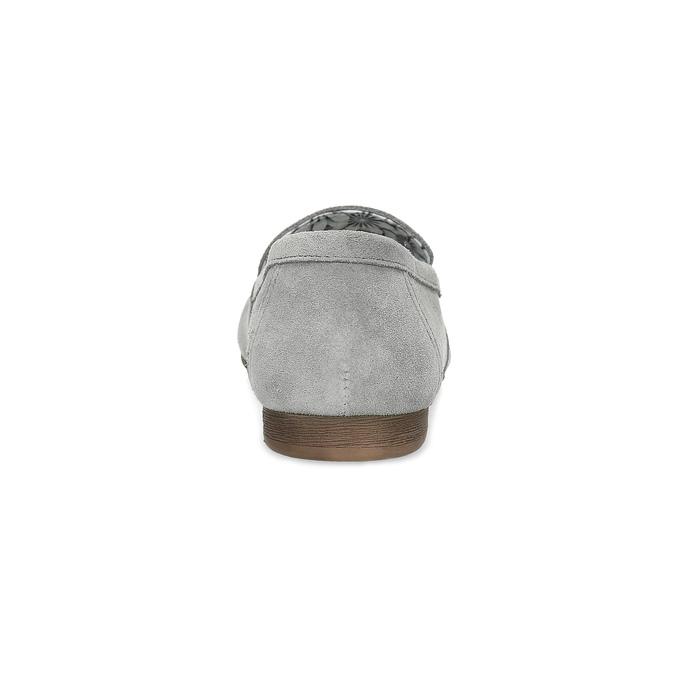Szare skórzane mokasyny bata, szary, 513-2615 - 15