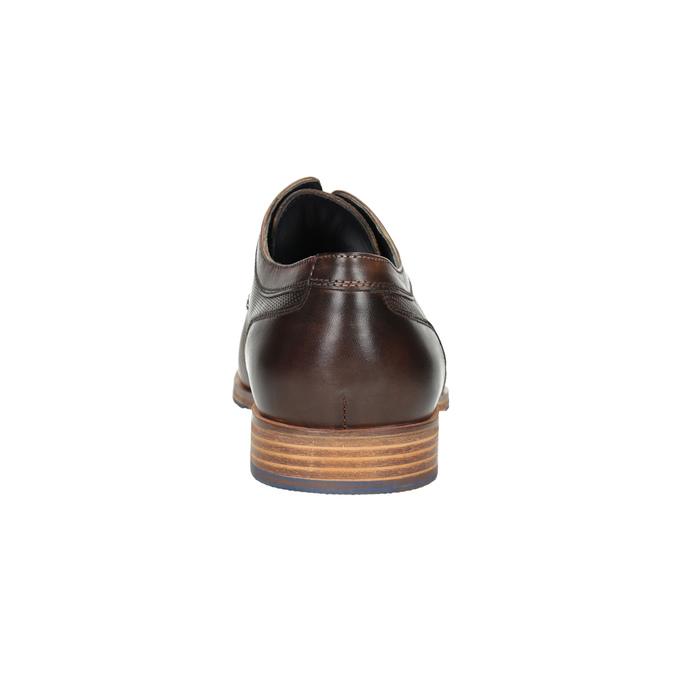 Brązowe skórzane półbuty zfakturą bata, brązowy, 826-4624 - 15