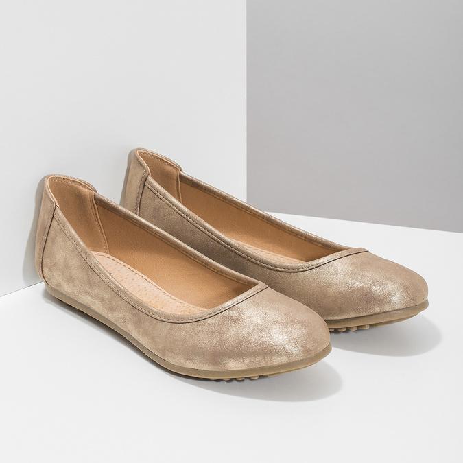 Złote baleriny damskie bata, 529-8640 - 26