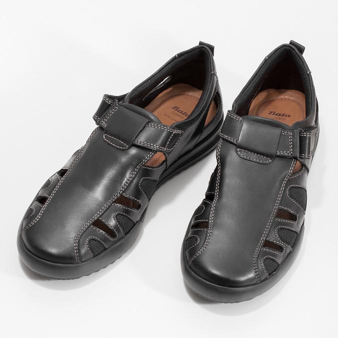 Skórzane sandały męskie zprzeszyciami comfit, czarny, 856-6605 - 16