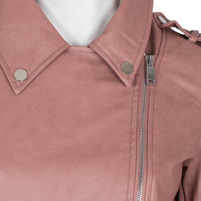 Różowa kurtka ze skóry ekologicznej zkołnierzem bata, różowy, 971-5198 - 16