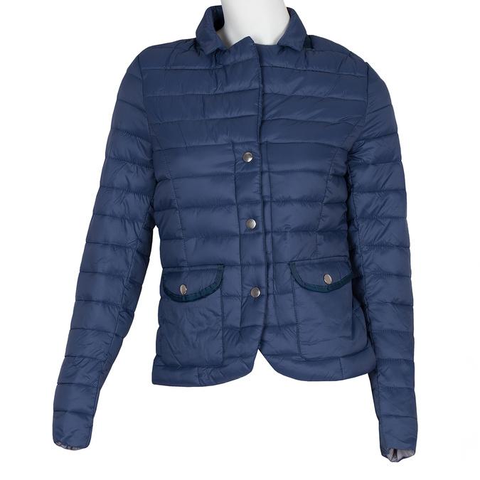 Granatowa pikowana kurtka zkołnierzykiem bata, niebieski, 979-9182 - 13