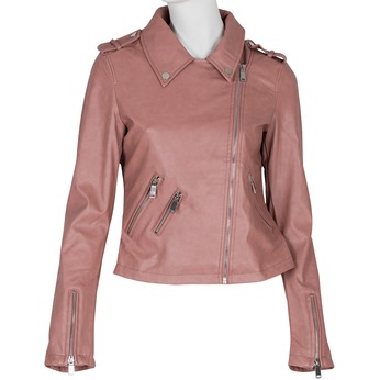 Różowa kurtka ze skóry ekologicznej zkołnierzem bata, różowy, 971-5198 - 13