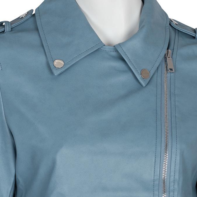 Błękitna kurtka damska wmotocyklowym stylu, zzamkami błyskawicznymi bata, niebieski, 971-9198 - 16