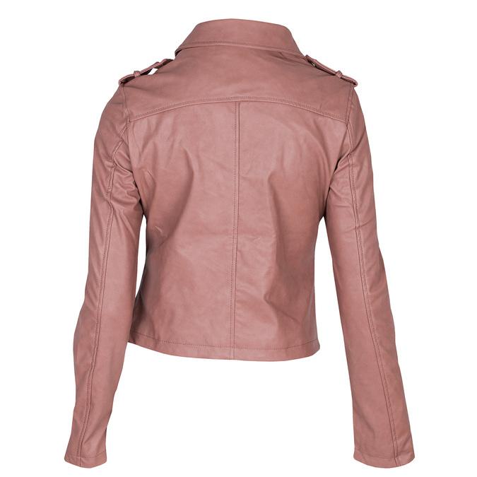 Różowa kurtka ze skóry ekologicznej zkołnierzem bata, różowy, 971-5198 - 26