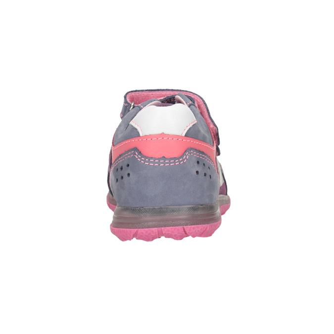 Skórzane trampki dziewczęce na rzepy mini-b, fioletowy, 223-9604 - 16