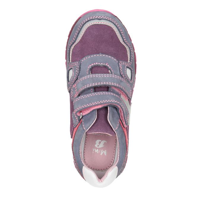 Skórzane trampki dziewczęce na rzepy mini-b, fioletowy, 223-9604 - 15