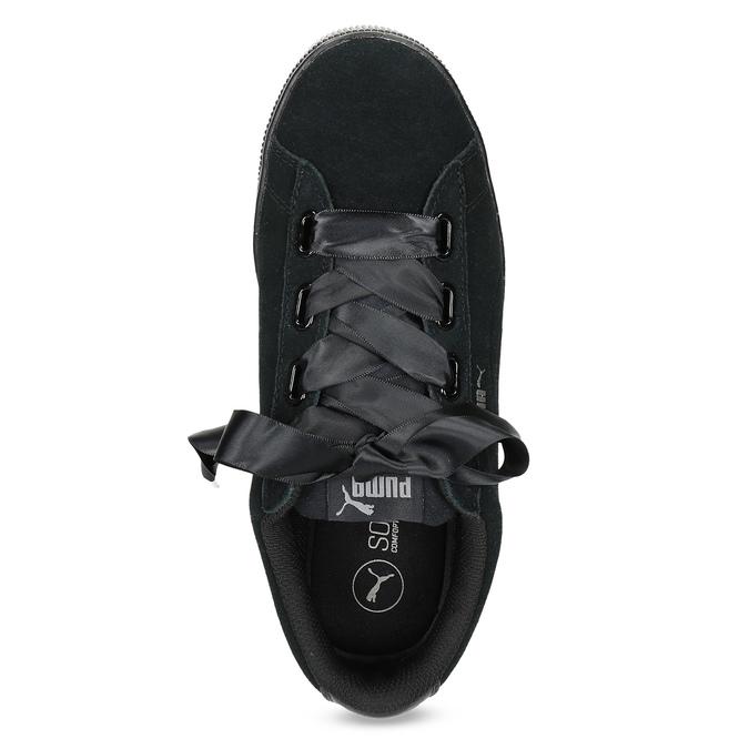 Czarne skórzane trampki na platformie, ze wstążkami puma, czarny, 503-6737 - 17