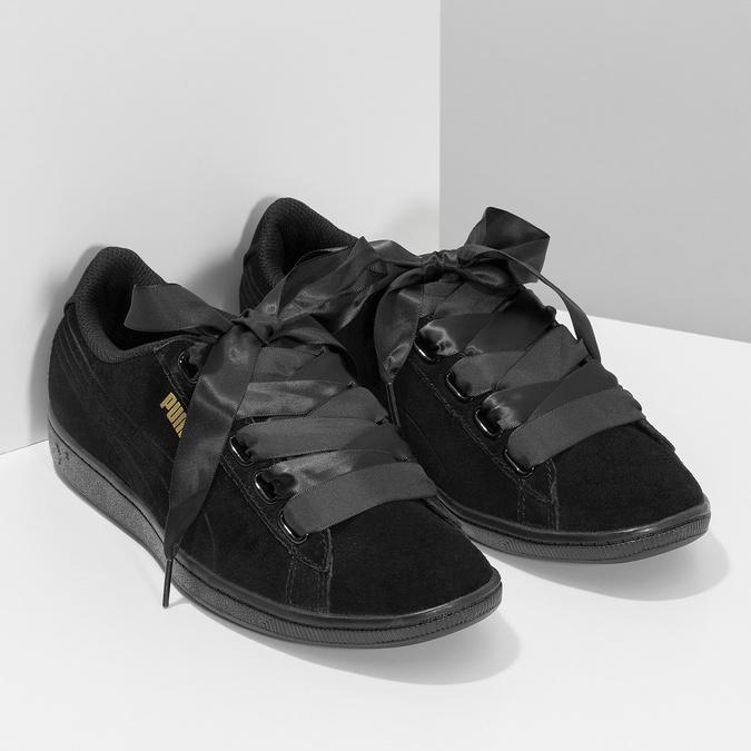 Czarne skórzane trampki ze wstążkami puma, czarny, 503-6738 - 26