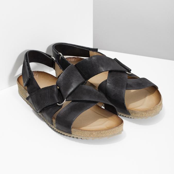 Skórzane sandały męskie bata, czarny, 866-6646 - 26