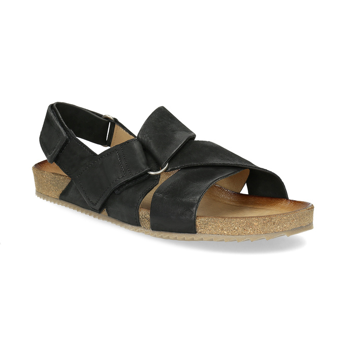 Skórzane sandały męskie bata, czarny, 866-6646 - 13