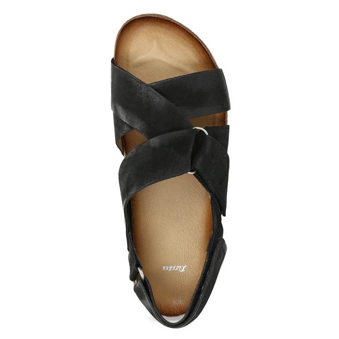 Skórzane sandały męskie bata, czarny, 866-6646 - 17