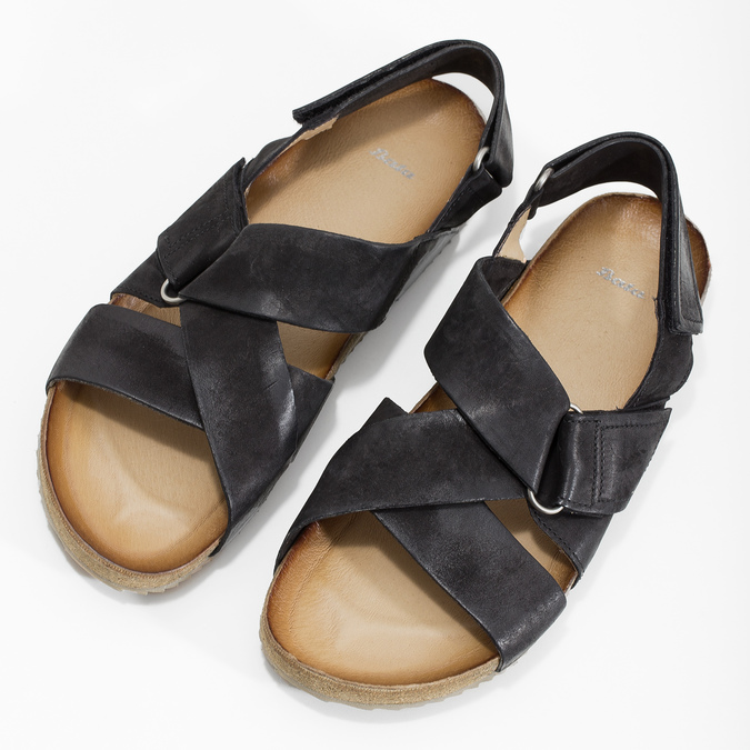 Skórzane sandały męskie bata, czarny, 866-6646 - 16