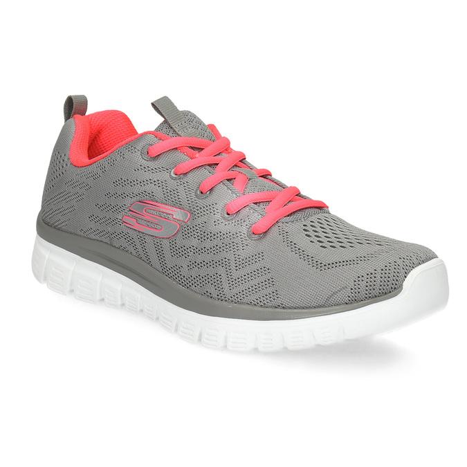 Różowo-szare sportowe trampki damskie skechers, szary, 509-2418 - 13