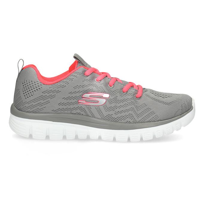 Różowo-szare sportowe trampki damskie skechers, szary, 509-2418 - 19