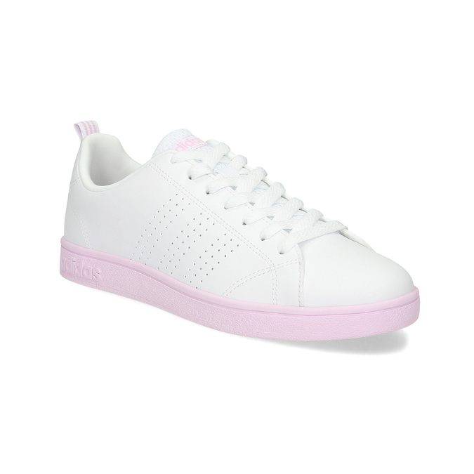 Białe trampki damskie zróżową podeszwą adidas, biały, 501-1533 - 13