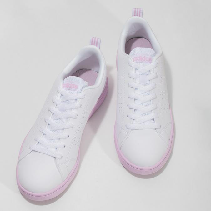 Białe trampki damskie zróżową podeszwą adidas, biały, 501-1533 - 16