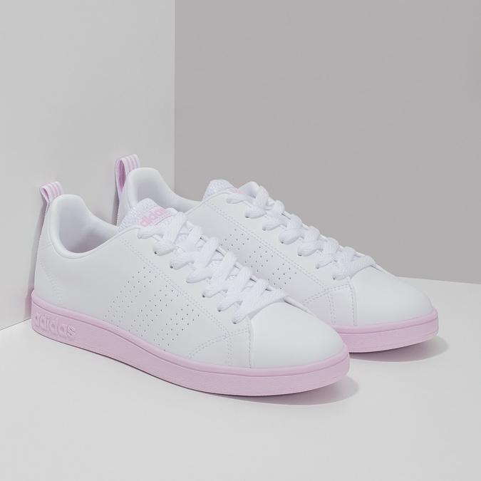 Białe trampki damskie zróżową podeszwą adidas, biały, 501-1533 - 26